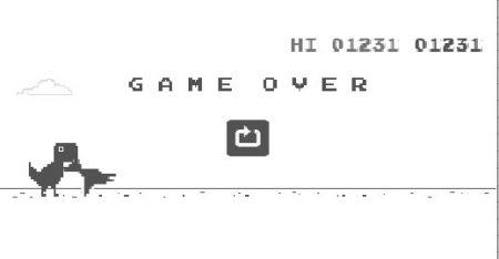 googleの恐竜ゲーム、ハイスコアハイスコアは驚異の二万越え【動画あり】